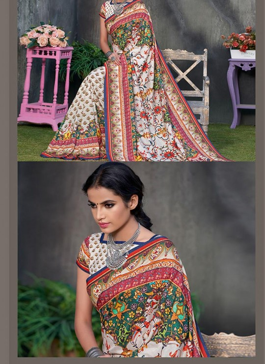 Off White Tussar Silk Party & Festival Wear Digital Printed Sarees Signature Saree Collection-2 T-1508 By Saptrangi