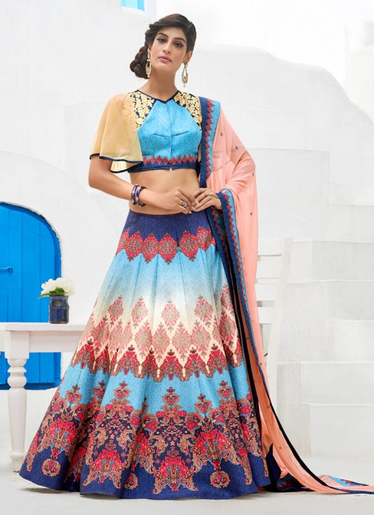Blue Silk Wedding & Party Wear 2 in 1 Lehenga Gown 201 Series SL-210 By Saptrangi