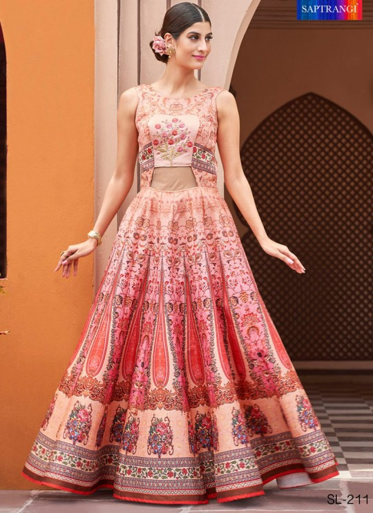 Peach Silk Wedding & Party Wear 2 in 1 Lehenga Gown 201 Series SL-211 By Saptrangi