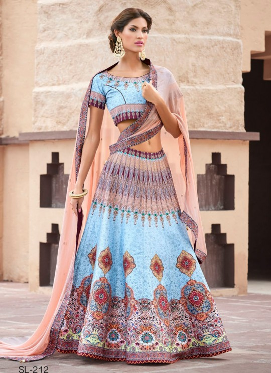 Blue Silk Wedding & Party Wear 2 in 1 Lehenga Gown 201 Series SL-212 By Saptrangi