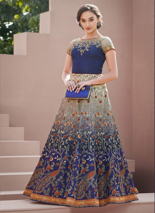 Blue Satin Silk Wedding & Party Wear 2 in 1 Lehenga Gown  Signature collection-4 SL-402 By Saptrangi