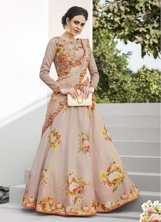 Beige Satin Silk Wedding & Party Wear 2 in 1 Lehenga Gown  Signature collection-4 SL-404 By Saptrangi