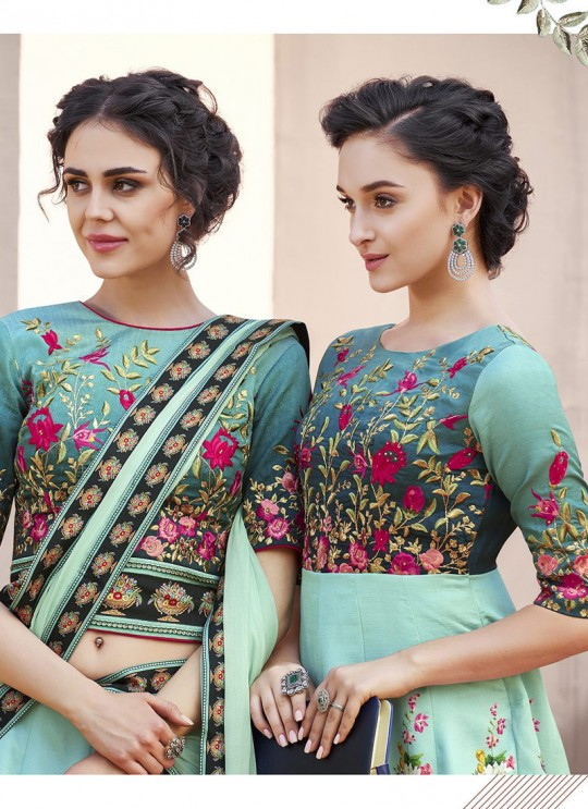 Blue Satin Silk Wedding & Party Wear 2 in 1 Lehenga Gown  Signature collection-4 SL-406 By Saptrangi
