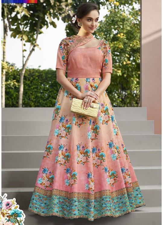 Pink Satin Silk Wedding & Party Wear 2 in 1 Lehenga Gown  Signature collection-4 SL-408 By Saptrangi