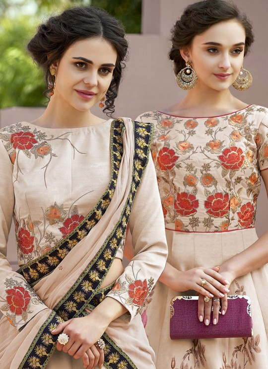 Cream Satin Silk Wedding & Party Wear 2 in 1 Lehenga Gown  Signature collection-4 SL-409 By Saptrangi