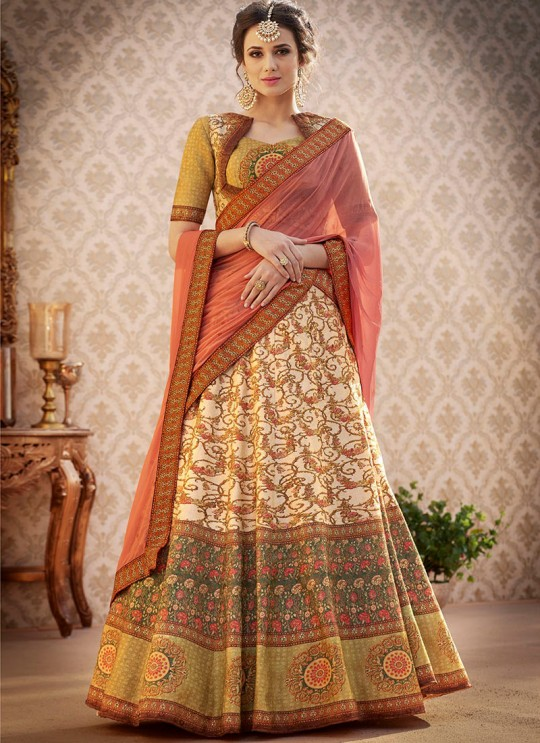Beige Banarsi Silk Wedding & Party Wear 2 in 1 Lehenga Gown  Rangraas Vintage Collection SL-501 By Saptrangi