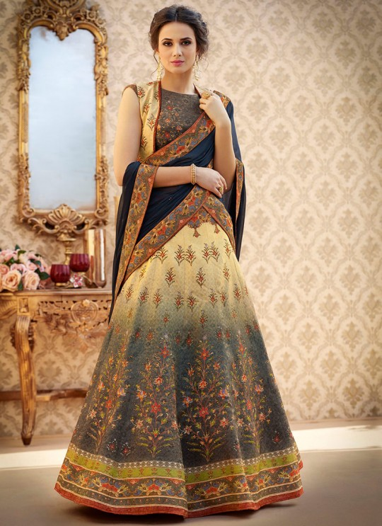 Multicolor Banarsi Silk Wedding & Party Wear 2 in 1 Lehenga Gown  Rangraas Vintage Collection SL-503 By Saptrangi