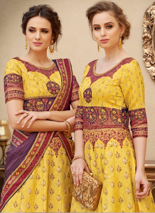 Yellow Banarsi Silk Wedding & Party Wear 2 in 1 Lehenga Gown  Rangraas Vintage Collection SL-505 By Saptrangi