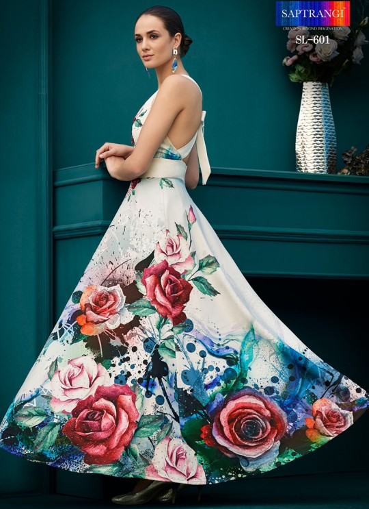 Off White Silk Wedding & Party Wear 2 in 1 Lehenga Gown  Florance Iconic Collection SL-601 By Saptrangi