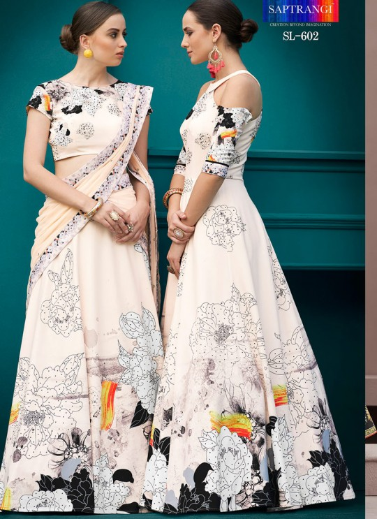Cream Silk Wedding & Party Wear 2 in 1 Lehenga Gown  Florance Iconic Collection SL-602 By Saptrangi