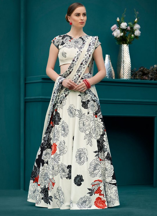 Cream Silk Wedding & Party Wear 2 in 1 Lehenga Gown  Florance Iconic Collection SL-603 By Saptrangi