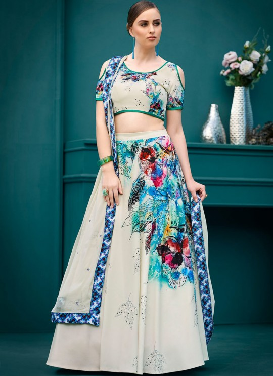 Cream Silk Wedding & Party Wear 2 in 1 Lehenga Gown  Florance Iconic Collection SL-605 By Saptrangi