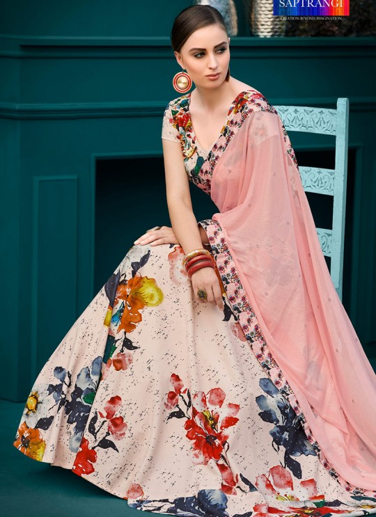 Pink Silk Wedding & Party Wear 2 in 1 Lehenga Gown  Florance Iconic Collection SL-606 By Saptrangi
