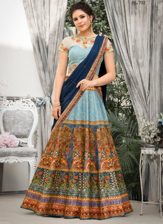 Blue Banarsi Silk Wedding & Party Wear 2 in 1 Lehenga Gown Rangrass vintage collection Season-7 SL-702 By Saptrangi