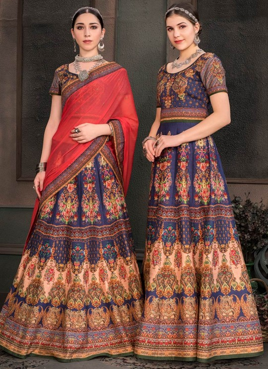 Blue Silk Wedding & Party Wear 2 in 1 Lehenga Gown Signature Collection Season-8 SL-805A By Saptrangi