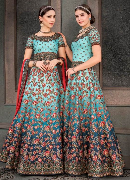 Blue Silk Wedding & Party Wear 2 in 1 Lehenga Gown Signature Collection Season-8 SL-806B By Saptrangi