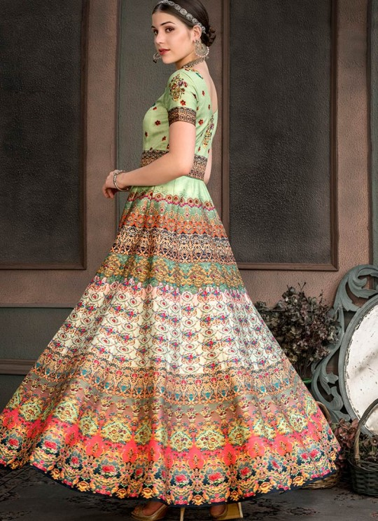 Green Silk Wedding & Party Wear 2 in 1 Lehenga Gown Signature Collection Season-8 SL-807B By Saptrangi