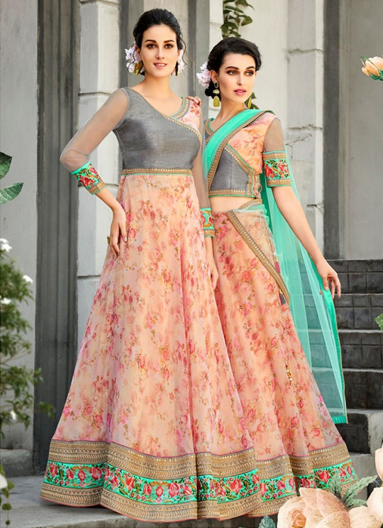 Grey Organza Silk 2 in 1 Lehenga Gown For Wedding Ceremony Couture Classics 901 By Saptrangi Sarees SC/CC901
