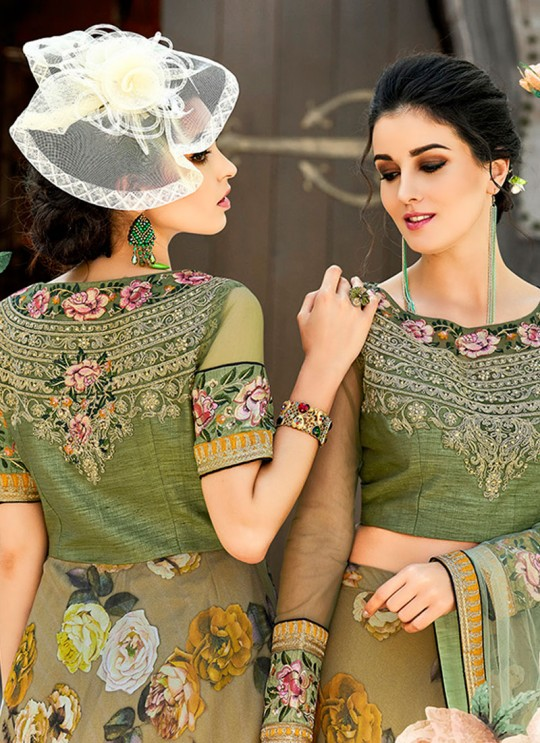 Green Organza Silk 2 in 1 Lehenga Gown For Wedding Ceremony Couture Classics 902 By Saptrangi Sarees SC/CC902