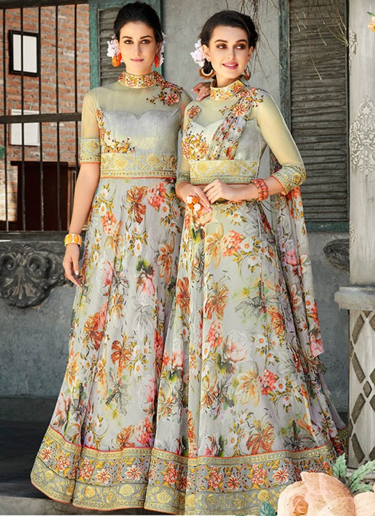 Off White Organza Silk 2 in 1 Lehenga Gown For Wedding Ceremony Couture Classics 903 By Saptrangi Sarees SC/CC903