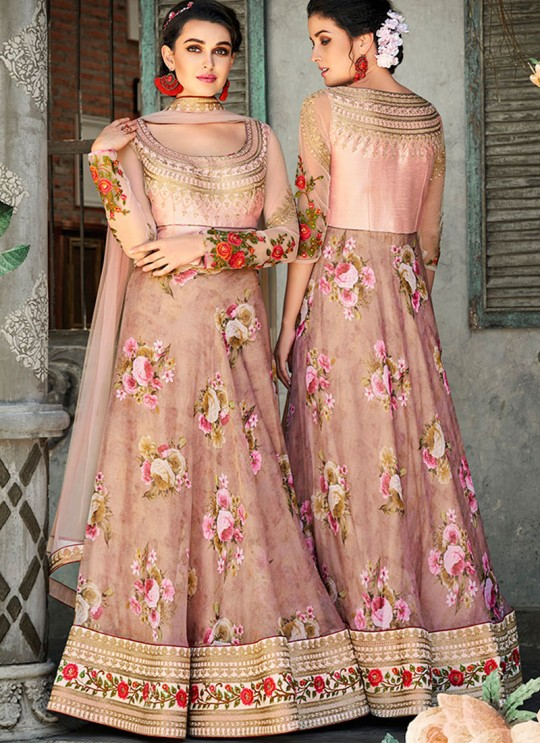 Pink Organza Silk 2 in 1 Lehenga Gown For Wedding Ceremony Couture Classics 905 By Saptrangi Sarees SC/CC905