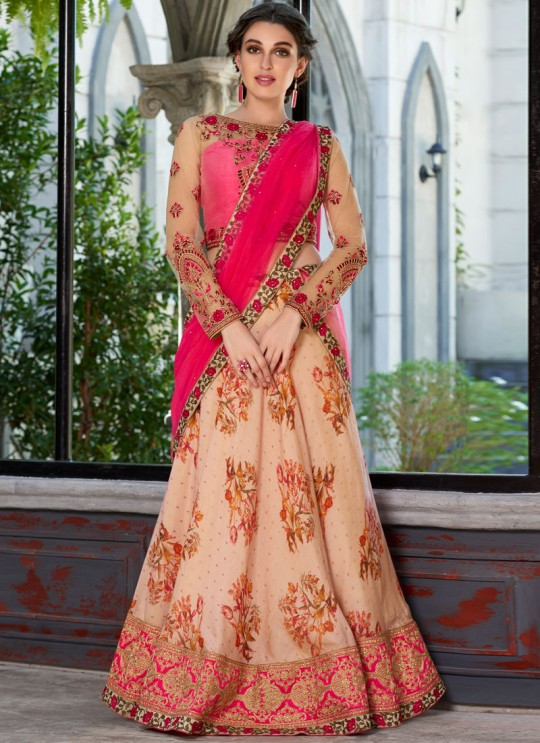 Pink Modal Silk 2 in 1 Lehenga Gown Ring Ceremony Rose Collection 1001 By Saptrangi Sarees SC/SRC1001