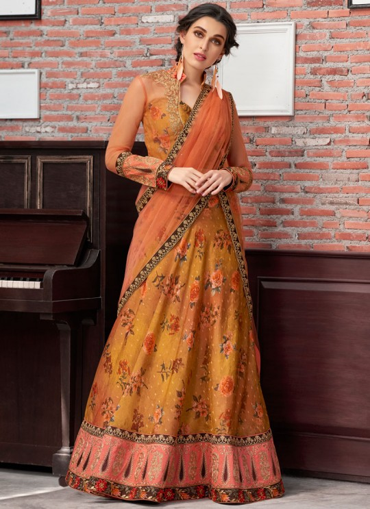 Mustard Modal Silk 2 in 1 Lehenga Gown Ring Ceremony Rose Collection 1002 By Saptrangi Sarees SC/SRC1002