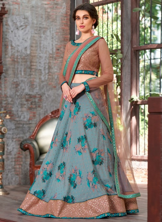 Peach Modal Silk 2 in 1 Lehenga Gown Ring Ceremony Rose Collection 1003 By Saptrangi Sarees SC/SRC1003