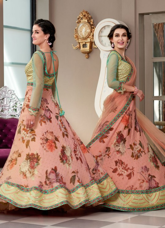 Green Modal Silk 2 in 1 Lehenga Gown Ring Ceremony Rose Collection 1005 By Saptrangi Sarees SC/SRC1005