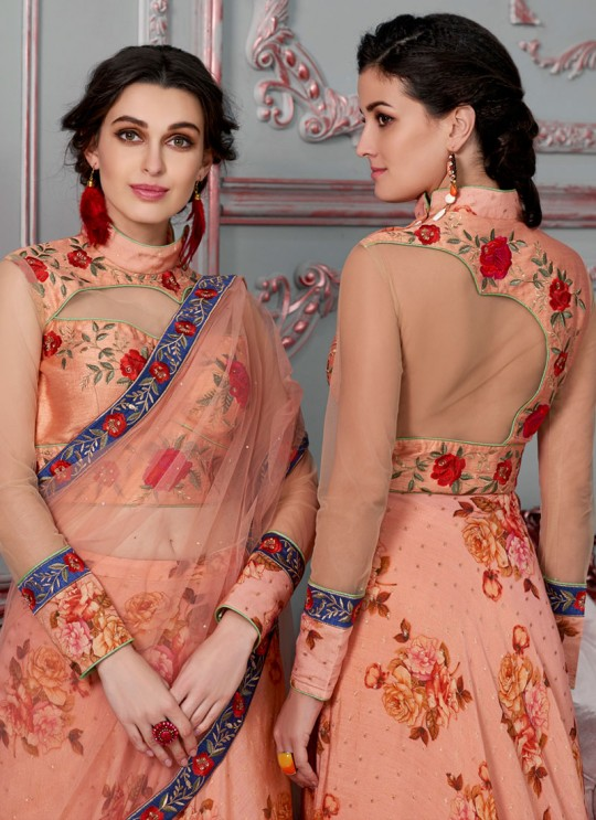 Peach Modal Silk 2 in 1 Lehenga Gown Ring Ceremony Rose Collection 1007 By Saptrangi Sarees SC/SRC1007