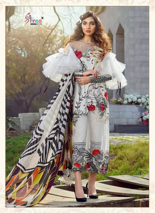 Asifa Nabeel Lawn Collection By Shree Fab 1232 White Cocktail Pakistani Shalvar Kameez Sc/018125