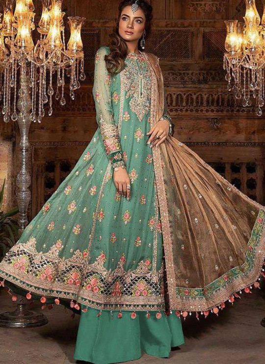 Green Georgette Ceremony Pakistani Suit Mbroidered Mariya B Vol 8 8121 By Shree Fabs SC/016039