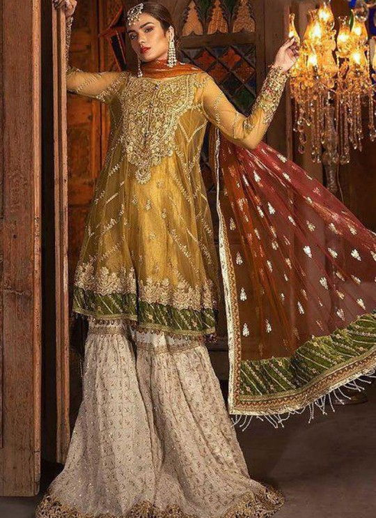 Golden Net Ceremony Pakistani Suit Mbroidered Mariya B Vol 8 8122 By Shree Fabs SC/016039