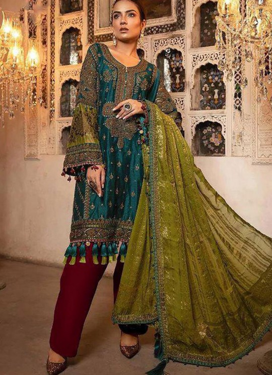 Green Georgette Ceremony Pakistani Suit Mbroidered Mariya B Vol 8 8124 By Shree Fabs SC/016039