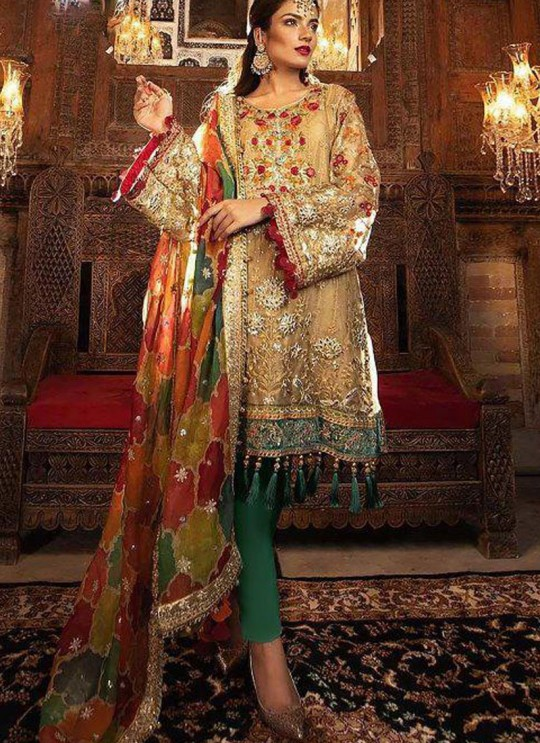 Golden Net Ceremony Pakistani Suit Mbroidered Mariya B Vol 8 8125 By Shree Fabs SC/016039