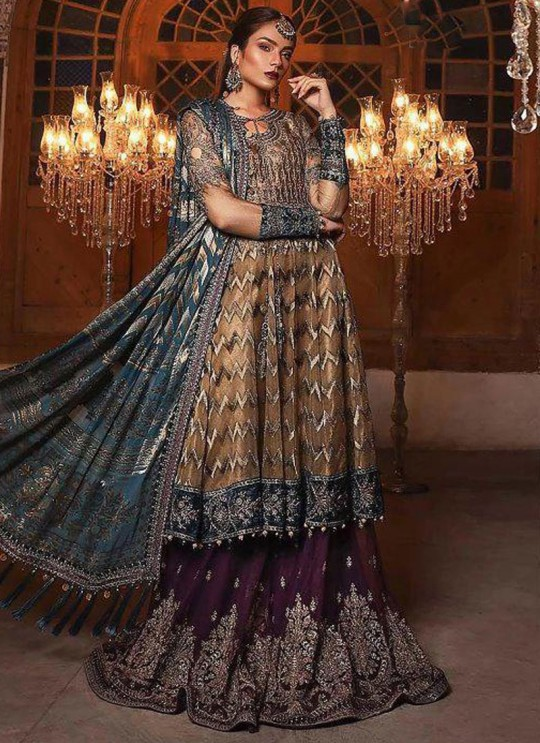 Beige Net Ceremony Palazzo Suits Mbroidered Mariya B Vol 8 8126 By Shree Fabs SC/016039