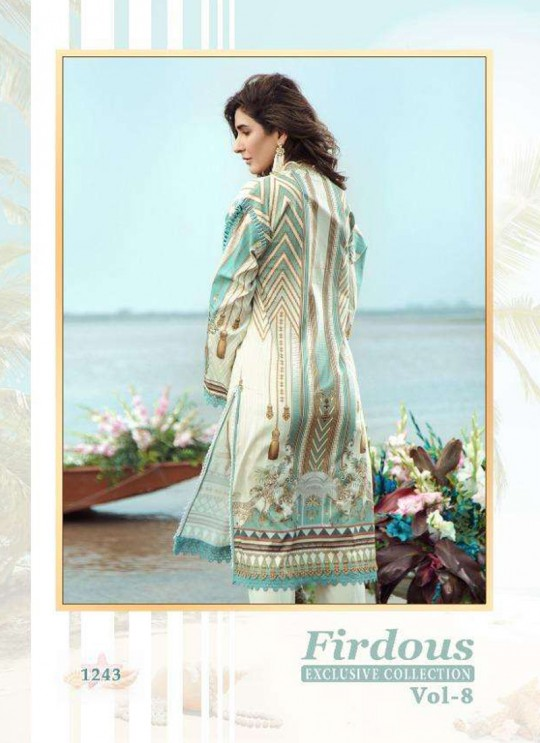 Firdous Vol 8 Chiffon By Shree Fab 1243 Off White Party Wear Pakistani Shalvar Kameez SC/018099