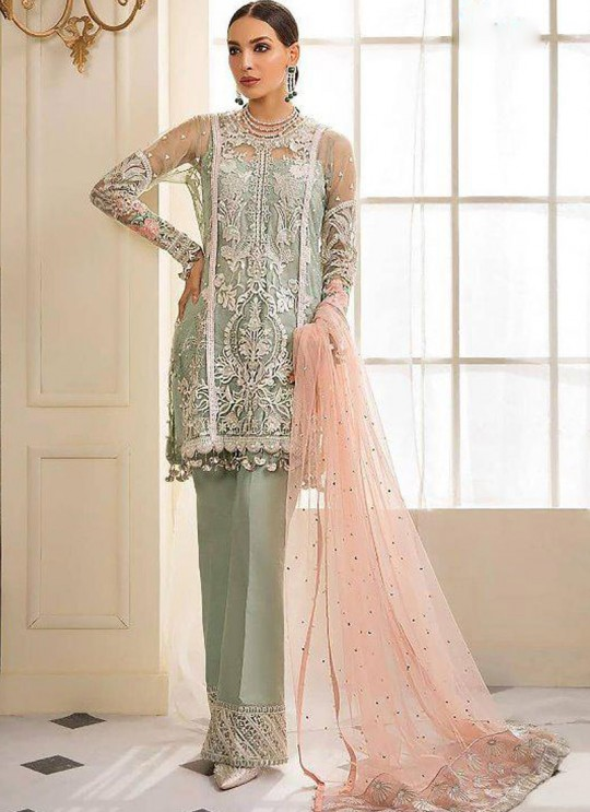 Green Net Party Wear Pakistani Suit Gulal Emb Collection Vol 2 2142 By Shree Fabs SC/015977