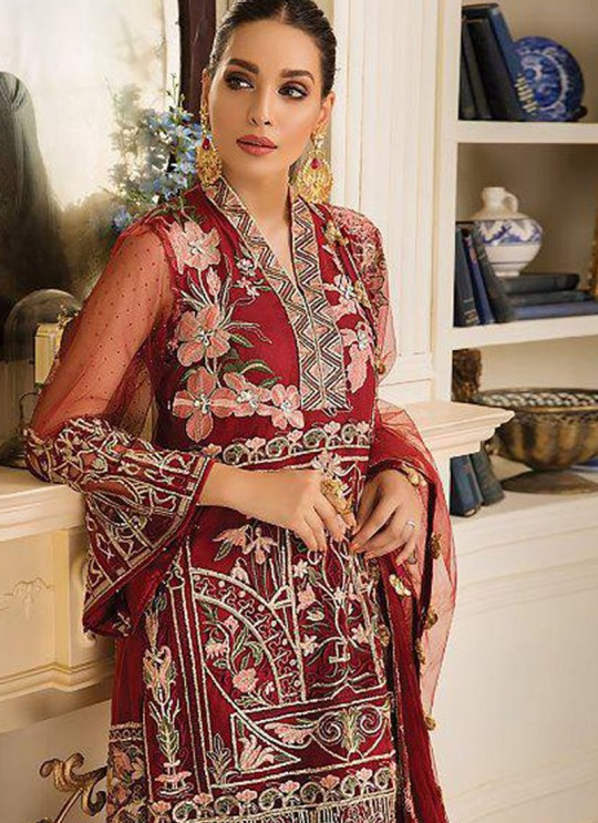 Red Net Party Wear Pakistani Suit Gulal Emb Collection Vol 2 2143 By Shree Fabs SC/015977