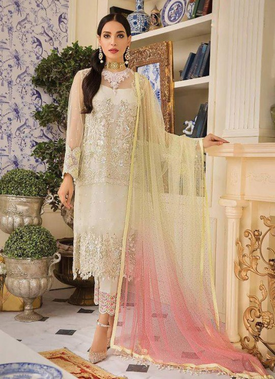 Off White Net Party Wear Pakistani Suit Gulal Emb Collection Vol 2 2144 By Shree Fabs SC/015977