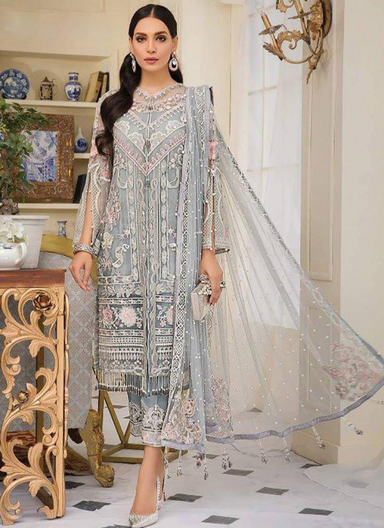 Grey Net Party Wear Pakistani Suit Gulal Emb Collection Vol 2 2146 By Shree Fabs SC/015977