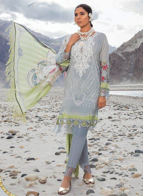 Grey Pure Cotton Casual Wear Pakistani Suit Mariya N Print Vol 3 5638 By Shree Fabs SC/016060