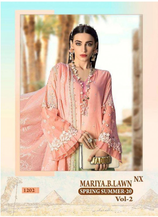 Mariya B Lawn Spring Summer Vol 2 NX By Shree Fab 1202 Pink Bridesmaid Pakistani Shalvar Kameez SC/018111