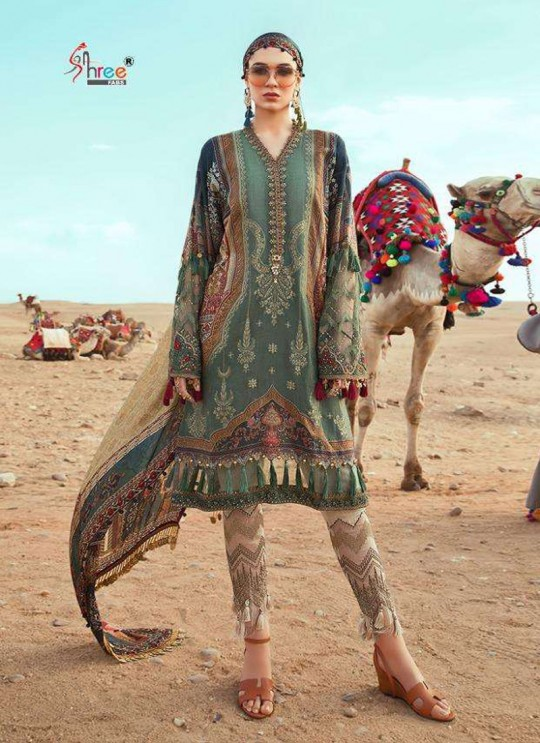 Mariya B Lawn Vol 3 Spring Summer 20 By Shree Fab 1287 Green Bridesmaid Pakistani Shalvar Kameez SC/018115