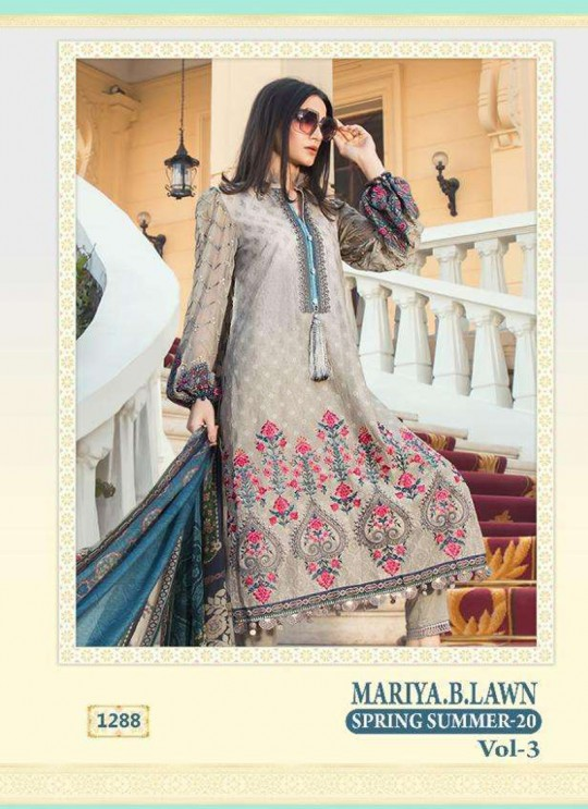 Mariya B Lawn Vol 3 Spring Summer 20 By Shree Fab 1288 Grey Bridesmaid Pakistani Shalvar Kameez SC/018115