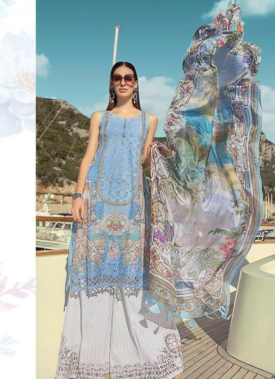MariyaB Lawn Spring Summer 19 NX By Shree Fab Blue Cambric Cotton Eid Wear Pakistani Suit 1612