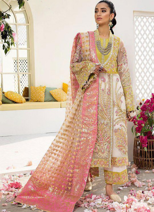 Yellow Georgette Designer Pakistani Suit Crimson Bridal Collection Vol 2 8167 By Shree Fabs SC/016149