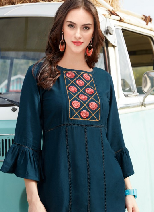 Alluring Teal Blue Rayon Casual Wear Top Glazier 2 1018 By Sparrow SC/016495