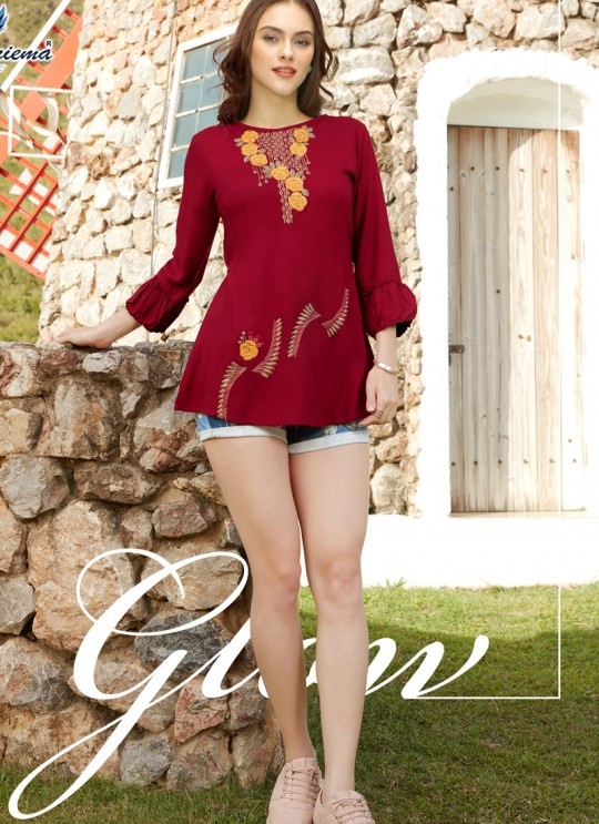 Captivating Maroon Rayon Casual Wear Top Glazier 2 1023 By Sparrow SC/016510