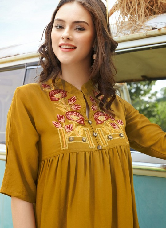 Pleasant Mustard Rayon Casual Wear Top Glazier 2 1019 By Sparrow SC/016498